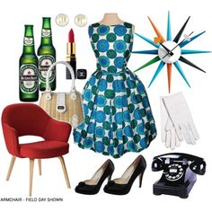 Mad Men photo booth prop - phone, chair & clock