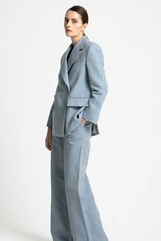 Love this sustainable Blazer made from linen and cotton from Sustainable Swedish brand House of Dagmar Vegan Fashion, Ethical Fashion, Fashion Brands, Swedish Brands, High Waisted Flares, Linen Trousers, Sustainable Fashion, Blue Denim, Normcore