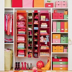 Sweater holders can hold so many things in a child's closet. | 41 Clever Organizational Ideas For Your Child's Playroom