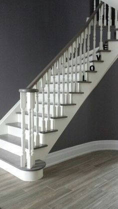 Staircase Makeover, Staircase Wall Decorating Ideas, Decorating Ideas for Stairs. Painted Staircases, Painted Stairs, Bannister Ideas Painted, White Staircase, Staircase Design, Grand Staircase, Staircase Ideas, Modern Staircase, Hallway Ideas