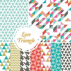 Digital Paper Pack: Love Triangle - 10 Printable Papers