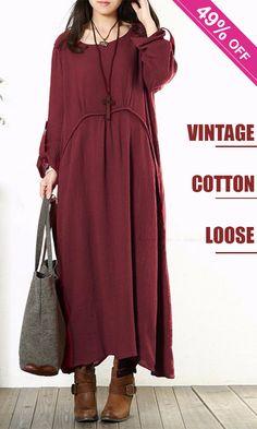 a196374a56e Women Vintage Baggy Cotton Long Sleeve Loose Maxi Dresses.
