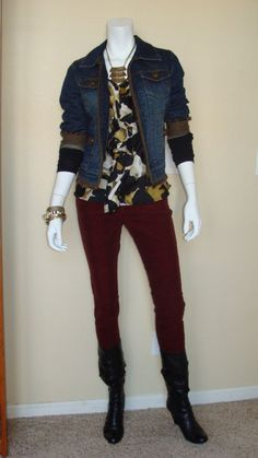 Daily Look:  CAbi Fall '12 Ingenue Cami and black Arm Warmers with vintage Ruby Cords and tweed-trimmed jean jacket.