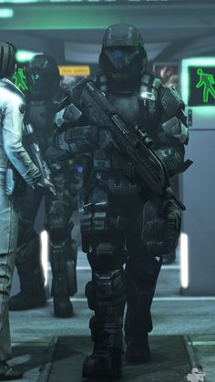 HVT Escort Through the Metro by (yes this is Halo but it's still cool) Futuristic Armour, Futuristic Art, Medieval Combat, Science Fiction, Halo 3 Odst, Halo Armor, Halo Series, Halo Game, Halo Reach