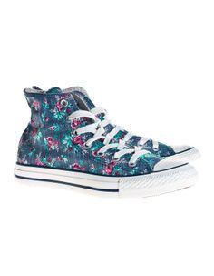 a85c59f8e475 CONVERSE Chuck Taylor High Dark Denim Floral Print Sneakers