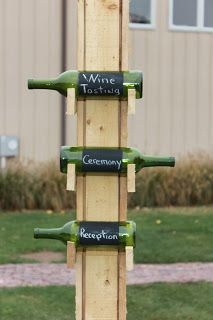 Wine bottles signage,but do clear bottles and fill with sand and sea shells. Boom beachy! :)