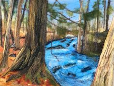 Needle felted landscape picture of river in Jay Cooke state park in Minnesota. 12 x 9""