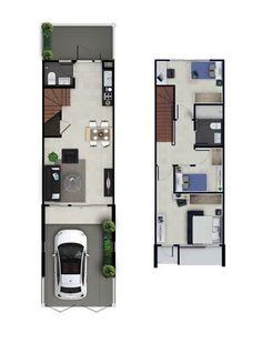 Narrow House Designs, Narrow House Plans, Modern House Plans, Small House Plans, House Outer Design, Small House Design, House Layout Plans, House Layouts, Home Design Floor Plans
