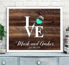 Rustic Wedding Guest book, Guestbook Alternative, Mason Jar Wedding Guestbook, Love sign, Shabby Chic Wedding, Wooden Background guestbook