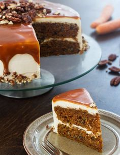 must try carrot cake (made with plenty of oil for moistness and density); frosted with a homemade creamy, buttery caramel sauce infused whipped cream cheese cream frosting; topped with more caramel Carrot Cake Frosting, Moist Carrot Cakes, Moist Cakes, Round Cake Pans, Round Cakes, Cake Recipes, Frosting Recipes, Cheese Recipes, Baking Recipes