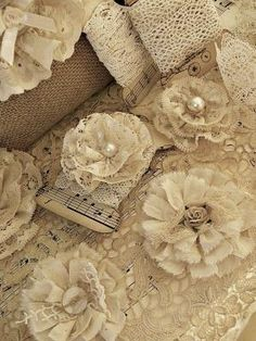 lace and fabric flowers by fotolabida.maria
