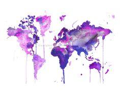 World Map Series No. 2 Print of original от MilkandHoneybread