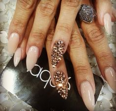 Nude rose gold Swarovski nails #laquenailbar