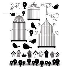 Manos Maravillosas Kit 17 sellos de silicona. Pájaros y jaulas.