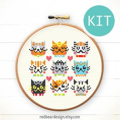 Modern Cross Stitch KIT DIY cat gift - I Love Catsss - Happy Funny Cat Love Cheerful kitten Cute heart Animal xstitch easy sweet diy gift