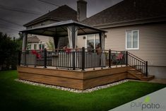 Project realized by Pur Patio. Trex composite patio in Rope Swing and Havana Gold colors with black aluminum ramps. Handrail aspect bo … - ALL ABOUT Small Patio Design, Backyard Patio Designs, Diy Patio, Patio Bar, Gazebo On Deck, Backyard Pergola, Patio Plans, Outdoor Gazebos, Outdoor Decor