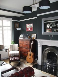 An inspirational image from Farrow and BallFarrow & Ball 'Studio Green'.. proving beautifully that dark colours enhance small rooms. 'Pointing' on the woodwork and ceiling.  Window Dressing & Colour Consultation by Decor Diva Interior Design.