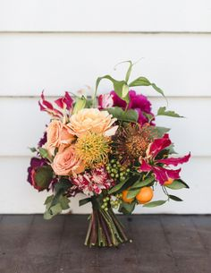 mixed pink and peach bouquet