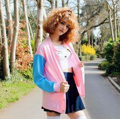 "S-XL Pink/light Green students baseball coat SE9138    Coupon code ""cutekawaii"" for 10% off"