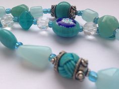Triple Bead Strand  Turquoise Blue Blue by HandmadeLCreations
