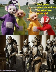 Teletubbies grow up to be Dark Elves that hate Asgard. Why can I totally see this happening?