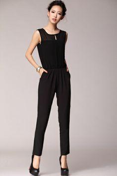 Sheer Yoke Sleeveless Jumpsuits OASAP.com