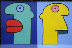 Thierry Noir Thierry Noir, East Side Gallery, Berlin Wall, Keith Haring, Art For Kids, Art Drawings, Symbols, Black And White, Planters