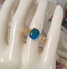Vintage Jewellery Gold Ring Blue Topaz White Sapphires Antique Deco Jewelry 10