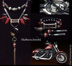 """Conjunto de joyas """"Harley Devidson Red"""".  Hecho a mano."""