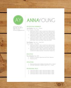 Resume Template | Instant Word Document Download | Modern Resume Design | Green Circle on Etsy, $15.00