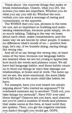 A small portion of the introduction to ImPerfect Phrases For Relationships: 101 COMMON Things You Should Never Say To Someone Important To You... And What To Say Instead. Stay tuned for more, and availability info.