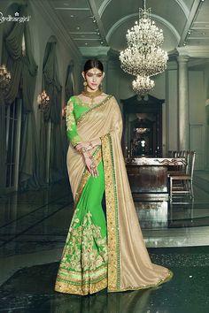 Green & Beige Color Viscose Georgette & Royal Silk Fabric Saree