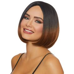 Looking for a short new 'do? Try out this Mid-Length Ombre Bob Wig for a temporary transformation. This sleek brunette and caramel style is sure to make you feel like a brand new person. Size: standard. Gender: female. Find a lot of Awesome Medium Haircuts at Barbarianstyle.net #beauty #midhaircut #hairstyle # haircut #mediumcut Medium Hair Cuts, Short Hair Cuts, Medium Hair Styles, Short Hair Styles, One Length Haircuts, One Length Bobs, Mid Length Ombre, Above The Shoulder Haircuts, Stop Grey Hair