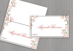 Wedding Place (Foldover) Card Template -DOWNLOAD Instantly - EDITABLE TEXT - Cherry Blossom (Coral & Pink) - Microsoft Word Format