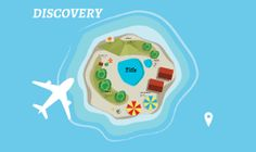 Prezi template, can be used in business, personal, charitable, educational Prezis. Includes top view of island, houses, swimming pool, mountains, umbrellas and other elements. Move elements, change texts. Download from: Prezibase.com
