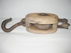 Vintage Wood and Metal Barn Pulley Block and Tackle Unique Old Farm Tool
