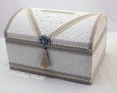 Card Box For Weddings Treasure Chest Money Wedding Ivory Envelope Holder Vintage