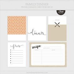 Free Printable Dinner Time Journal Cards at Turquoise Avenue