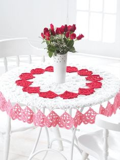 Valentines Tablecloth | Yarn | Free Knitting Patterns | Crochet Patterns | Yarnspirations