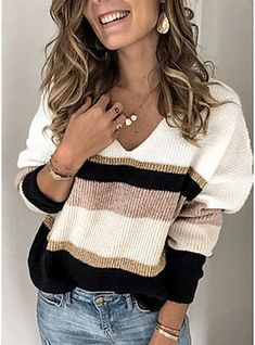 New Women V-Neck Pullover Sweater Casual Loose Knitted Jumper Color Block Striped Blouses Tunic Tops Soft Comfy Knitwear Tee online shopping - Looknewshop Casual Sweaters, Pullover Sweaters, Sweaters For Women, Oversized Sweaters, Knit Sweaters, Winter Sweaters, Vintage Sweaters, Loose Sweater, Long Sleeve Sweater