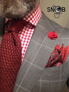WIW grey windowpane suit by Suitsupply, MTM gingham check shirt Van Laack for Lowet Tailors, knit tie Tom Ford, pocket-square by Polo Ralph Lauren boutonnière hook ALBERT   Raddest Men's Fashion Looks On The Internet: http://www.raddestlooks.org: