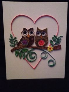 Two quilled owls by PaperNPatience on Etsy