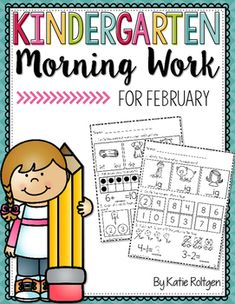 Kindergarten Morning Work for February - You get 25 pages of high quality student friendly printable worksheet pages for your kinder students. Various math and ELA concepts are included. These work great as seat work to help students stay engaged. Plus you grow student independence while practicing and reviewing essential K skills.
