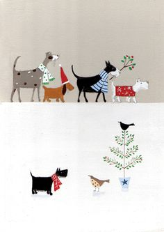 DOG PARADE Holiday - Counter card by Louise Rawlings for Carte by Calypso Cards Inside Greeting: Wishing you the joy of family and friends this holiday season Price: $3.50