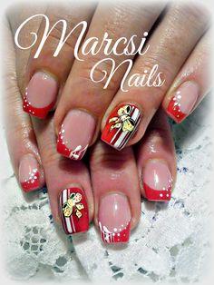 French nail, Red nail art