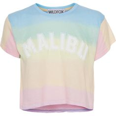 WILDFOX Malibu Sunscreen Multi // Scented T-shirt with lettering ($51) ❤ liked on Polyvore featuring tops, t-shirts, shirts, crop tops, slim fit shirts, crew shirt, rainbow shirt, rainbow t shirt and slim t shirts