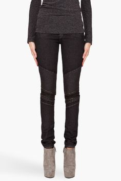 SUPERFINE //  Biker Jeans  Skinny leg jeans in faded black. Five pocket styling. Gunmetal tone rivets. Faux welt pockets at thighs. Patch pockets with signature stitching at rear. Diagonal stitch and gunmetal tone zip detail at knees. Tone on tone stitching. Zip fly. 98% cotton, 2% elastene. Made in Italy.  $535.00 USD