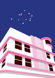 Beautiful illustration of Miami architecture Miami Architecture, Miami Art Deco, Wall Art Prints, Poster Prints, Building Illustration, Art Deco Buildings, 1920s Art Deco, Beautiful Posters, Star Art