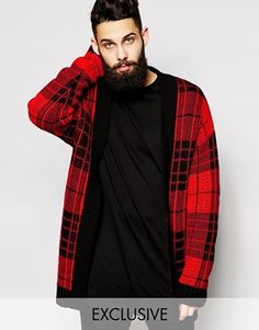 Reclaimed Vintage Longline Checked Cardigan