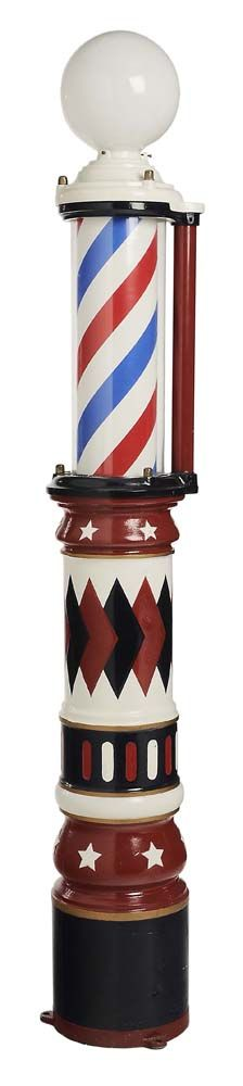 "Lot 497 from our November 10-11, 2012 Sale - Fine Vintage Paint-Decorated Electric Barber Pole stamped by ""James Barker, Inc., Phila. Pa."", circa 1911, column form, bright red, white and blue paint, barber pole spins inside glass casing, 82-1/2 in. - Estimate $2,000 to $3,000"